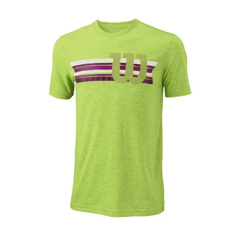 Wilson Mens Stripe W Tech Top (Green) - RacquetGuys