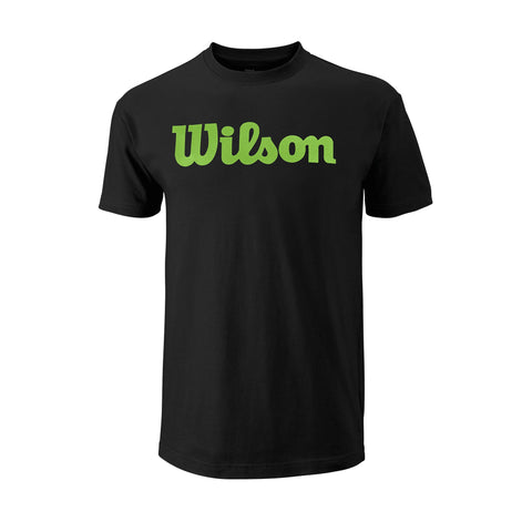 Wilson Mens Script Cotton Top (Black/Blade Green) - RacquetGuys