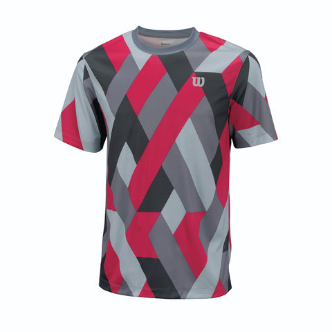 Wilson Mens Raz Crew Top (Dark Grey/Bright Rose) - RacquetGuys