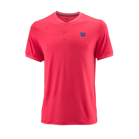 Wilson Mens Uwii Henley Top (Neon Red) - RacquetGuys