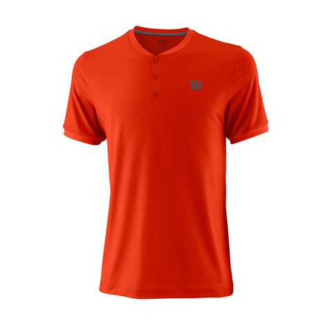 Wilson Mens Uwii Henley Pro Top (Red/Dark Grey) - RacquetGuys