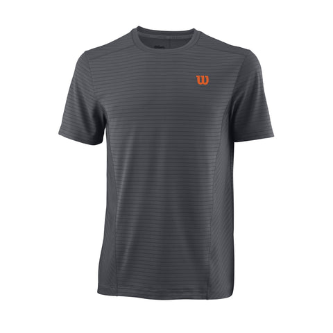 Wilson Mens UWII Linear Top (Dark Grey/Orange) - RacquetGuys