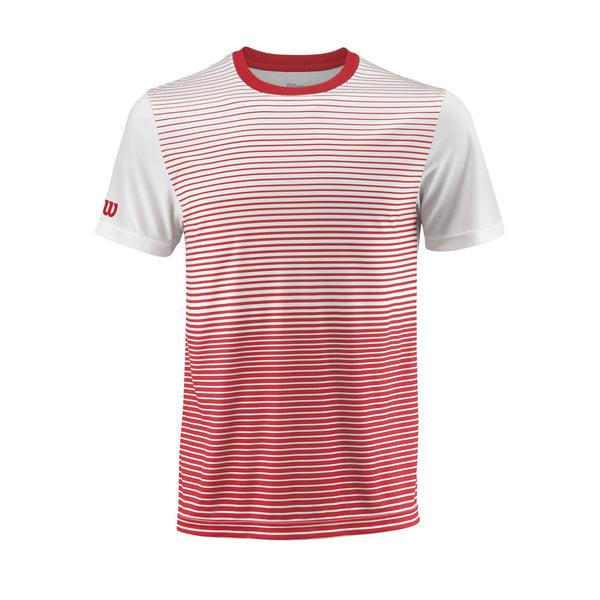 Wilson Mens Team Striped Top (Red/White) - RacquetGuys