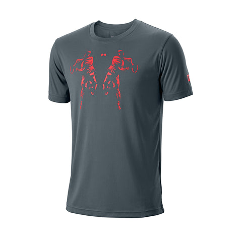 Wilson Mens Rorschach Tech Top (Dark Grey/Poppy) - RacquetGuys