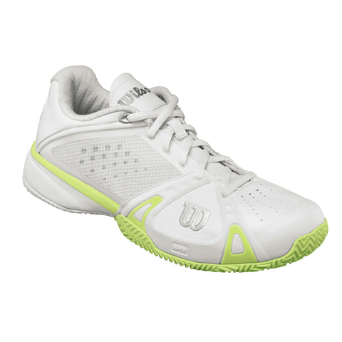Wilson Rush Pro Women's Clay Court Tennis Shoe (White/Cyber Green) - RacquetGuys