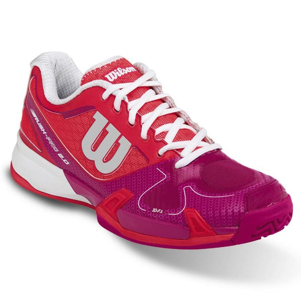 Wilson Rush Pro 2.0 Women's Tennis Shoe (Neon Red/Pink) - RacquetGuys
