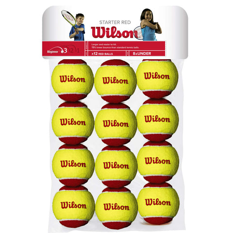 Wilson Starter Red Felt Junior Tennis Balls 12 Pack - RacquetGuys