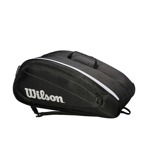 Wilson Federer Team 12 Pack Racquet Bag (Black) - RacquetGuys