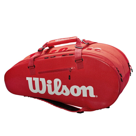 Wilson Super Tour 2 Compartment 9 Pack Racquet Bag (InfraRed) - RacquetGuys