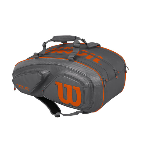 Wilson Tour V 15-Pack Racquet Bag (Grey/Orange) - RacquetGuys