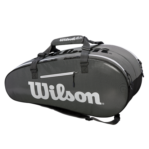 Wilson Super Tour 2 Compartment 9 Pack Racquet Bag (Grey/Black) - RacquetGuys