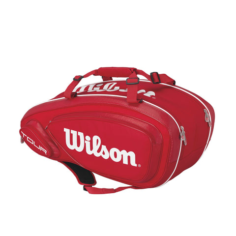Wilson Tour V 9-Pack Racquet Bag (Red/White) - RacquetGuys