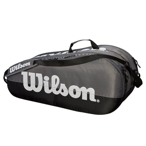 Wilson Team 2 Compartment 6 Pack Tennis Bag (Grey/Black) - RacquetGuys