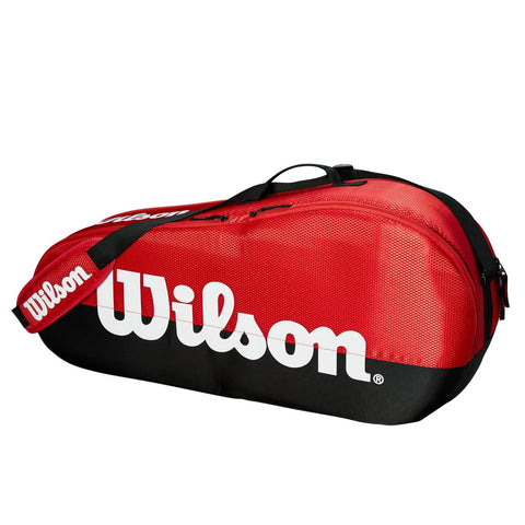 Wilson Team 1 Compartment 3 Pack Racquet Bag (Red/Black) - RacquetGuys