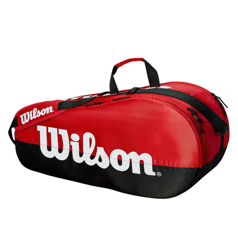 Wilson Team 2 Compartment 6 Pack Racquet Bag (Red/Black) - RacquetGuys.ca