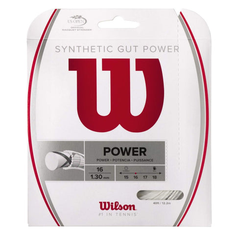 Wilson Synthetic Gut Power 16 Tennis String (White) - RacquetGuys