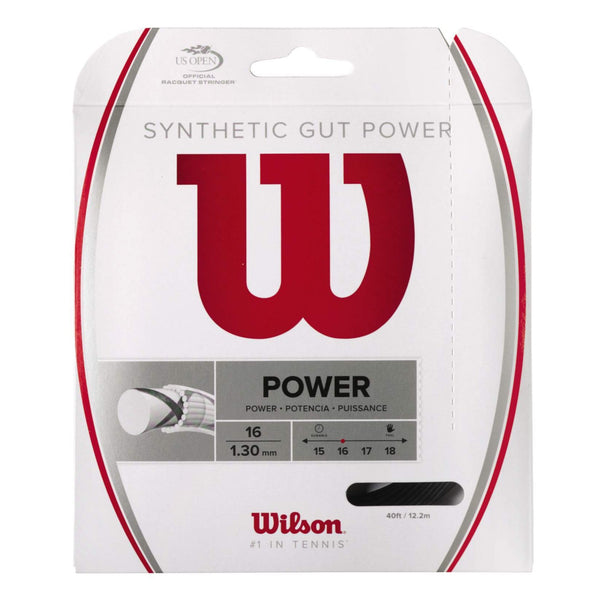 Wilson Synthetic Gut Power 16 Tennis String (Black) - RacquetGuys