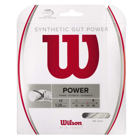 Wilson Synthetic Gut Power 17 Tennis String (White) - RacquetGuys