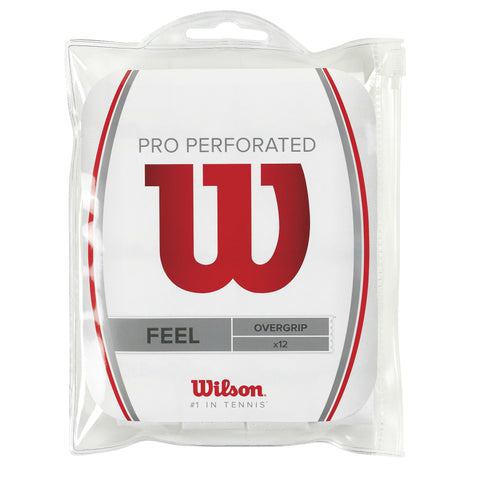 Wilson Pro Perforated Overgrip 12 Pack (White) - RacquetGuys.ca