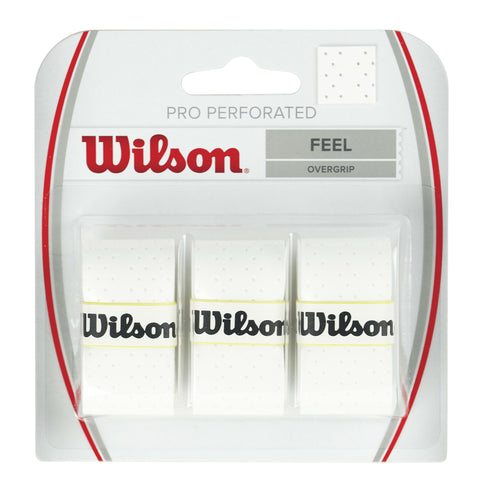 Wilson Pro Perforated Overgrip 3 Pack (White) - RacquetGuys.ca