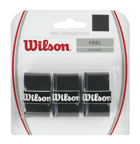 Wilson Pro Sensation Overgrip 3 Pack (Black) - RacquetGuys