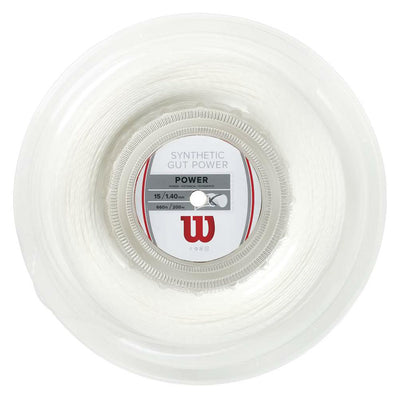 Wilson Synthetic Gut Power 16 Tennis String Reel (White)