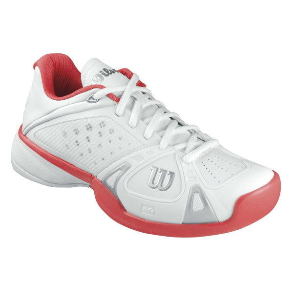 Wilson Rush Pro Women's Tennis Shoe (White/Cherry) - RacquetGuys
