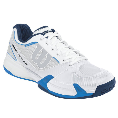 Wilson Rush Pro 2.0 Women's Tennis Shoe (White/Ice Gray/Blue) - RacquetGuys