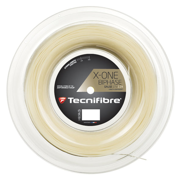 Tecnifibre X-One Biphase 16 Tennis String Reel (Natural) - RacquetGuys.ca