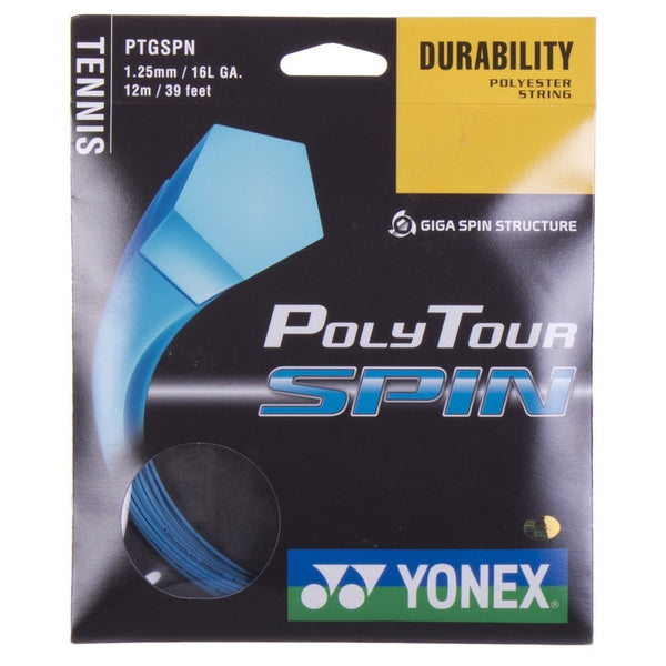 Yonex Poly Tour Spin 16L Tennis String (Blue) - RacquetGuys