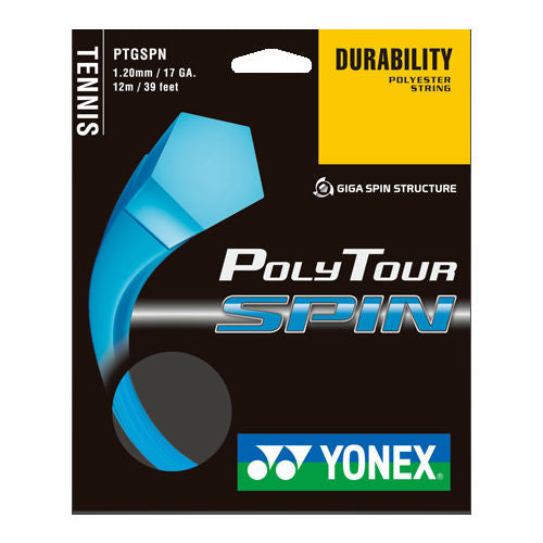 Yonex Poly Tour Spin 17 Tennis String (Blue) - RacquetGuys