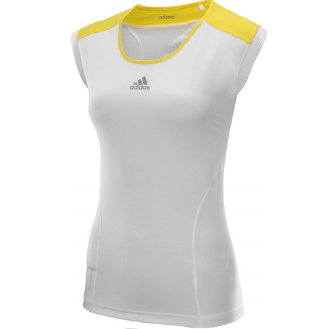 Adidas Women's Adizero Capsleeve Top (White/Yellow) - RacquetGuys