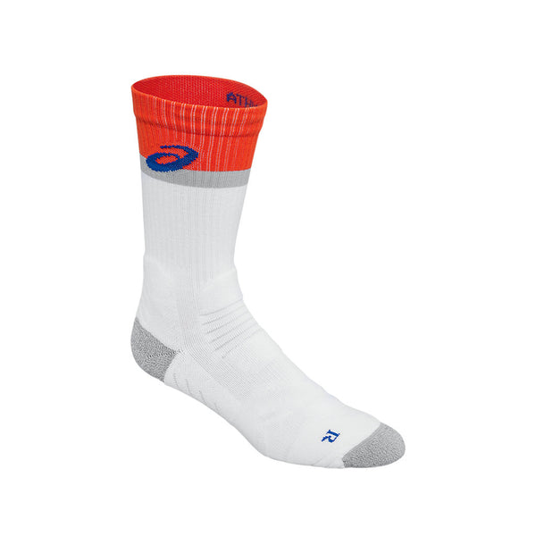 Asics Athlete Top Hibiscus Unisex Tennis Socks (White) - RacquetGuys