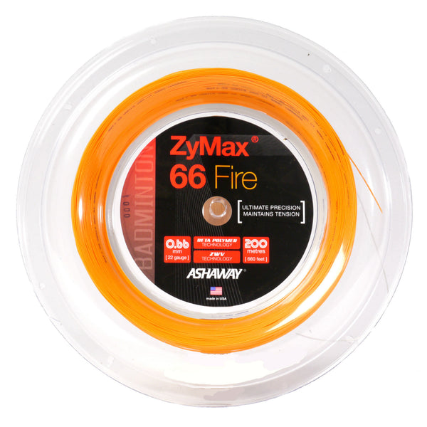 Ashaway Zymax 66 Fire Badminton String Reel (Orange) - RacquetGuys