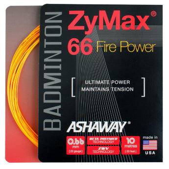 Ashaway ZyMax 66 Fire Power Badminton Strings (Orange) - RacquetGuys.ca