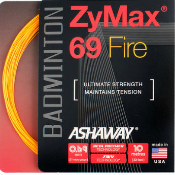 Ashaway ZyMax 69 Fire Badminton String (Orange)
