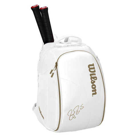 Wilson Federer DNA Racquet Backpack (White/Gold) - RacquetGuys
