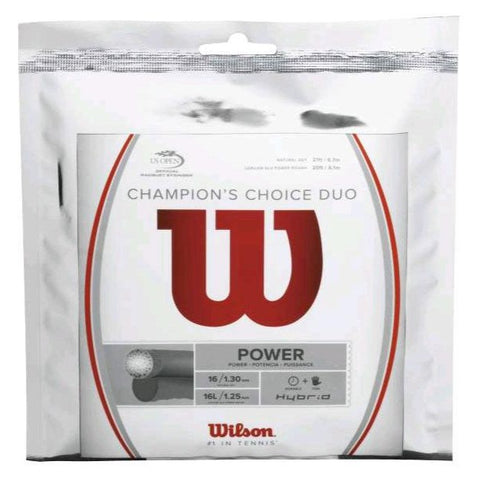 Wilson Champions Choice (Luxilon ALU Power Rough / Wilson Natural Gut) Hybrid Tennis String - RacquetGuys