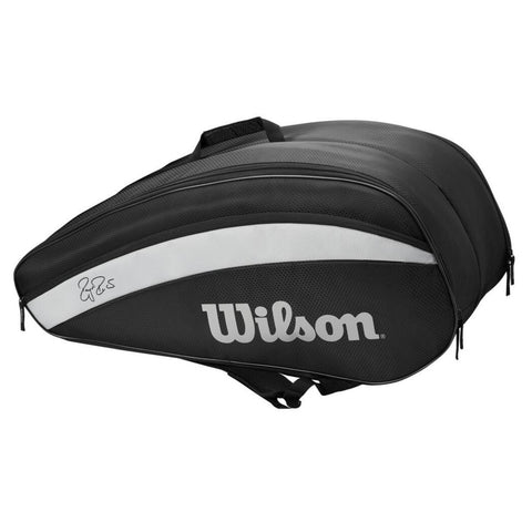 Wilson RF Team 12 Pack Racquet Bag (Black/White) - RacquetGuys
