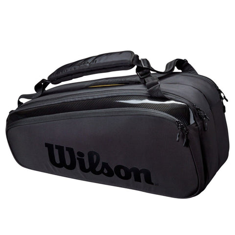Wilson Super Tour Pro Staff 9 Pack Racquet Bag (Black) - RacquetGuys