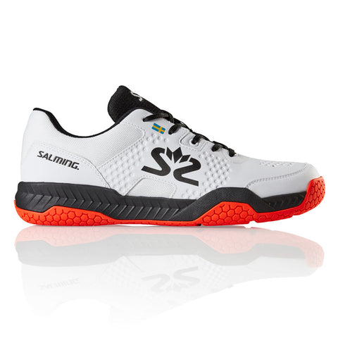 Salming Hawk Court Men's Indoor Court Shoe (White/Black/Flame Red) - RacquetGuys