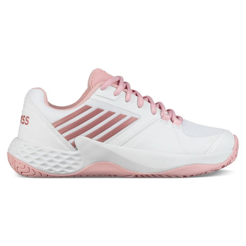 K-Swiss Aero Court Women's Tennis Shoe (White/Coral Blush) - RacquetGuys.ca