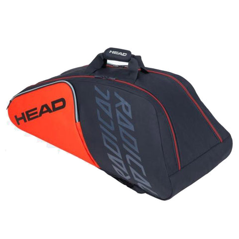 Head Radical Supercombi 9 Pack Racquet Bag (Grey/Orange/Navy Blue) - RacquetGuys