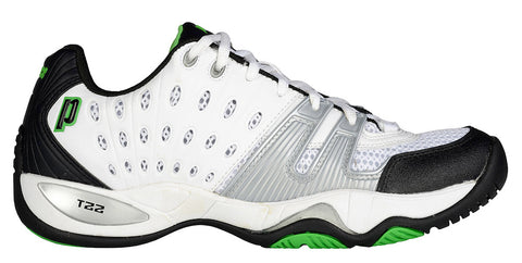 Prince T22 Men's Tennis Shoe (White/Black/Green) - RacquetGuys