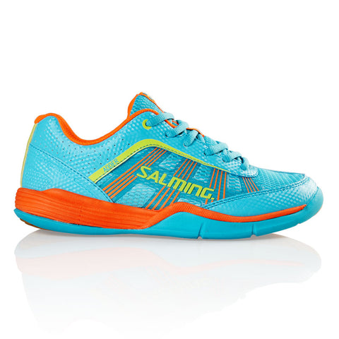 Salming Adder Junior Indoor Court Shoe (Turquoise/Orange) - RacquetGuys.ca