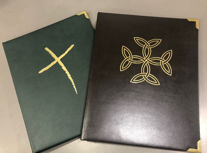Liturgy Celebration Folder Freehand Cross, Chocolate colour - Liturgy Brisbane