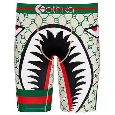 ETHIKA Green Monogram Shark Athletic Boxer Brief - 💦Spunk Trunks