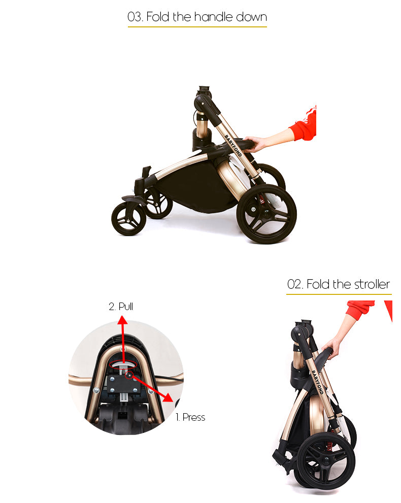 03. Fold the handle down. 04. Press the button and pull the lever. 05. Fold the stroller