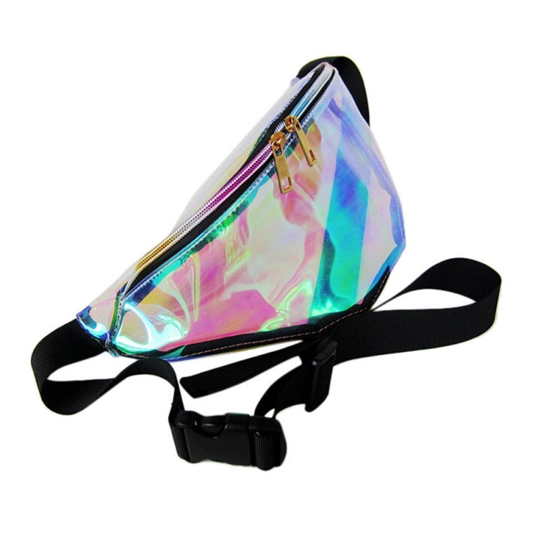 Fancy shiny holographic fannypack, made out of transparent fabric.