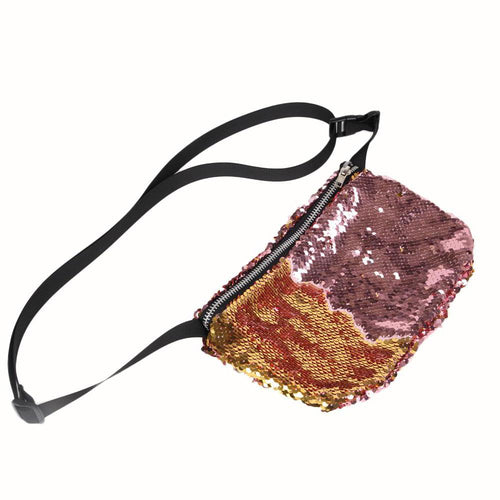 Handy and fashionable fannypack, made out of sequin fabric.